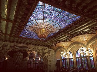 The glass roof of the Palau de la Musica