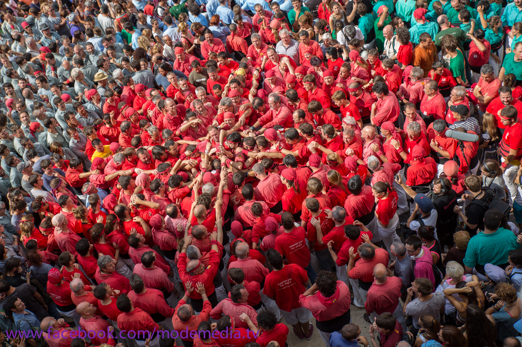 Castellers for the base of their human tower