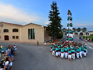 Castellers building a tower