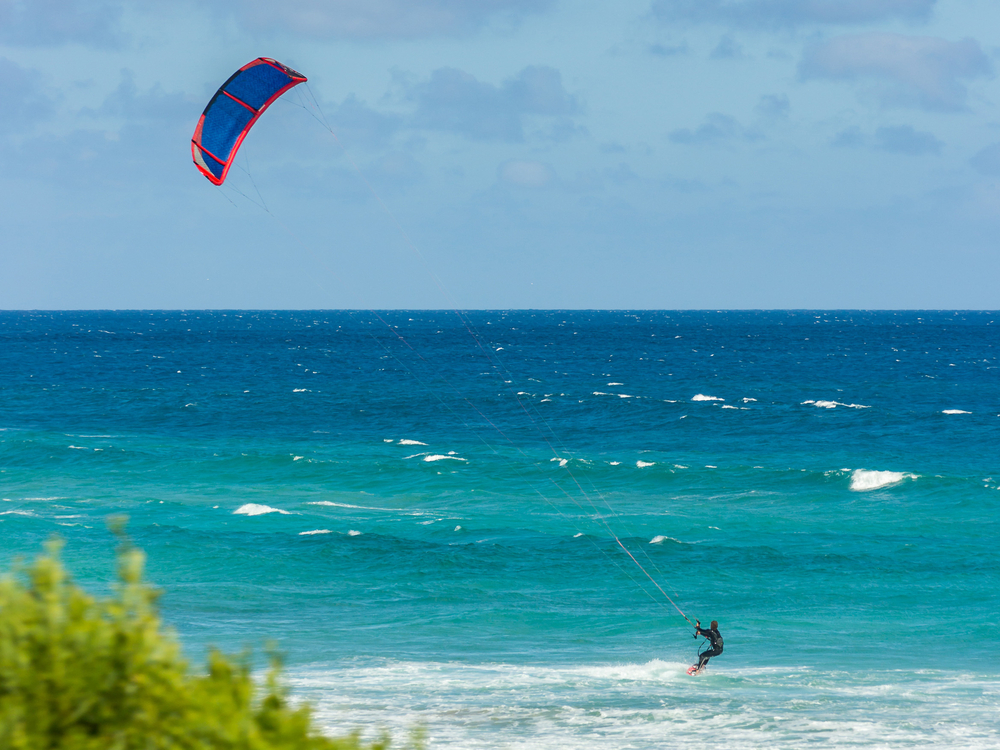 Person kitesurfing