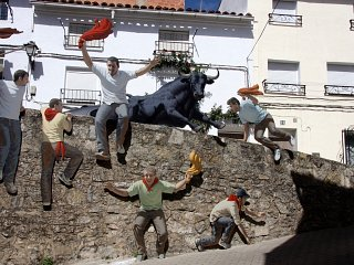 A sculpture of bull-running in Spain