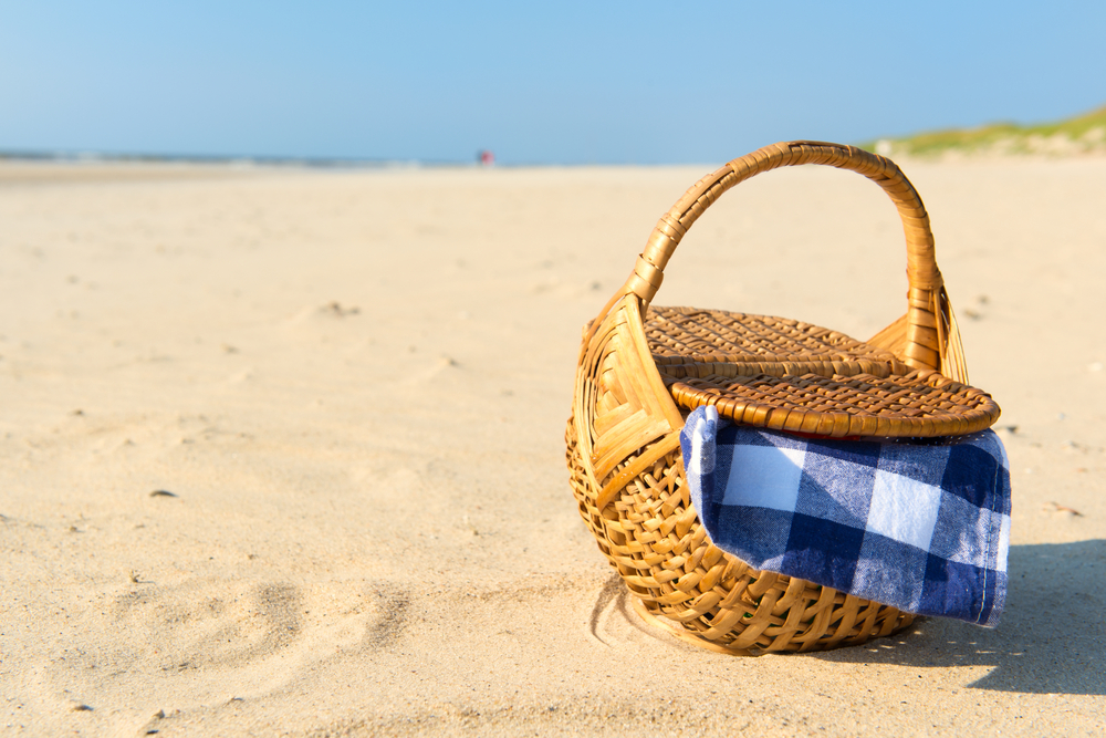 Picnic basket on a beach